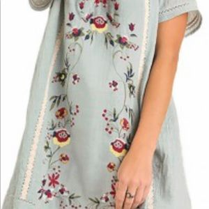 Umgee Floral  Blue Embroidered Dress. Size Medium.